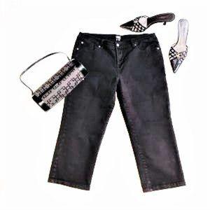 NICOLE BY NICOLE MILLER Black Capri Jeans